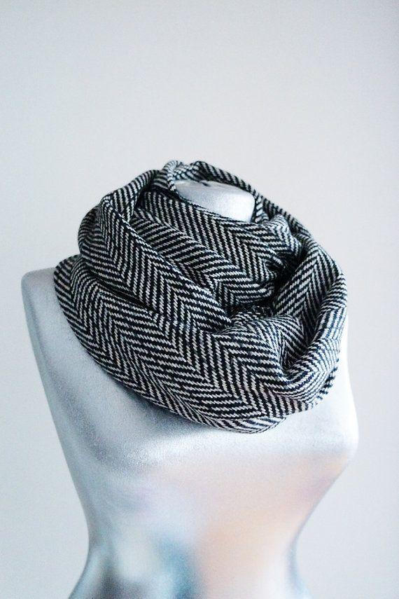 Herringbone Infinity Scarf Knitting Pattern : Scarf - Handmade Herringbone Infinity Scarf - Tweed ...
