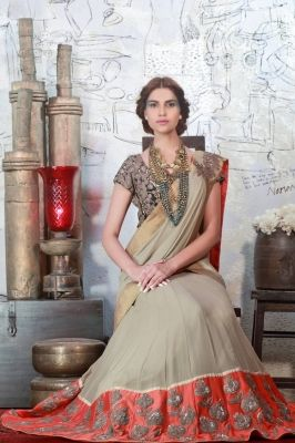 LEHENGA SARI with fully emb cutwork blouse is now available to be ordered at http://www.ekru.in/product/lehenga-sari-17