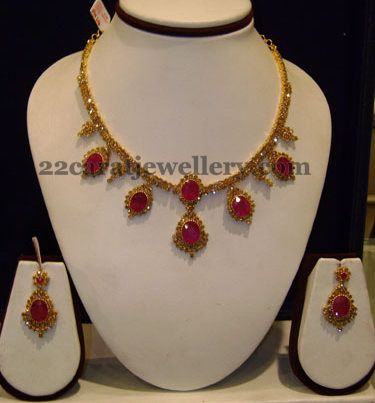 Jewellery Designs: Glass Pota Rubies and Uncut Necklace