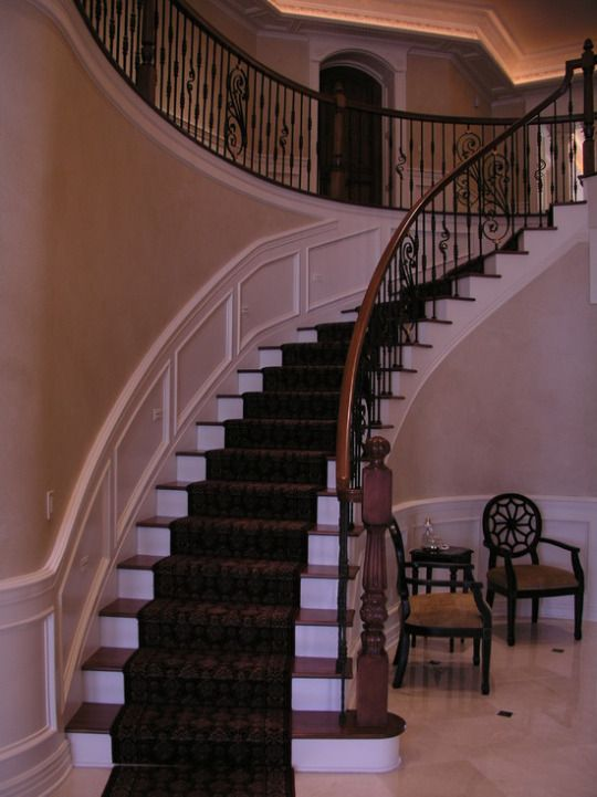 Captivating Traditional Grand Stairway With Wrought Iron Railing #home #remodel  #kitchen #bathroom #