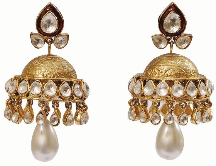 Kundan Jhumka — Vasundhara Mantri — Dangling Earrings | Indianhanger.com