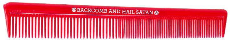 SOURPUSS BACKCOMB & HAIL SATAN COMB - Backcomb & Hail Satan with this unbreakable comb in your back pocket. You'll be able to tease your tresses to new heights with this handy plastic comb from Sourpuss.