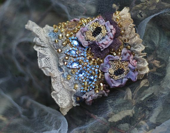 123 € Contessina, romantic bold cuff with antique laces, bohemian wrist wrap,beading and crystals