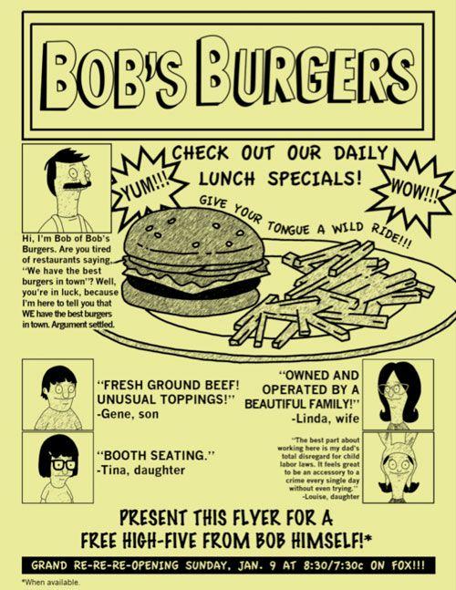 Bob's Burger flyer