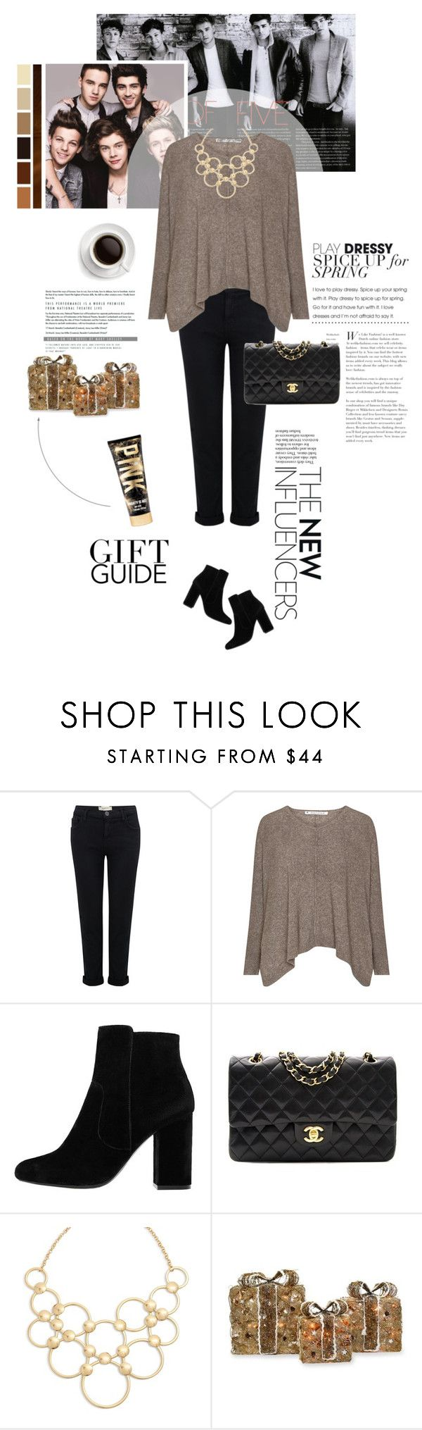 """Gift Guide"" by emaanathar ❤ liked on Polyvore featuring Current/Elliott, MANGO, Chanel, Vera Bradley, Seed Design, Shea's Wildflower Company, OneDirection, black, beige and powerlook"