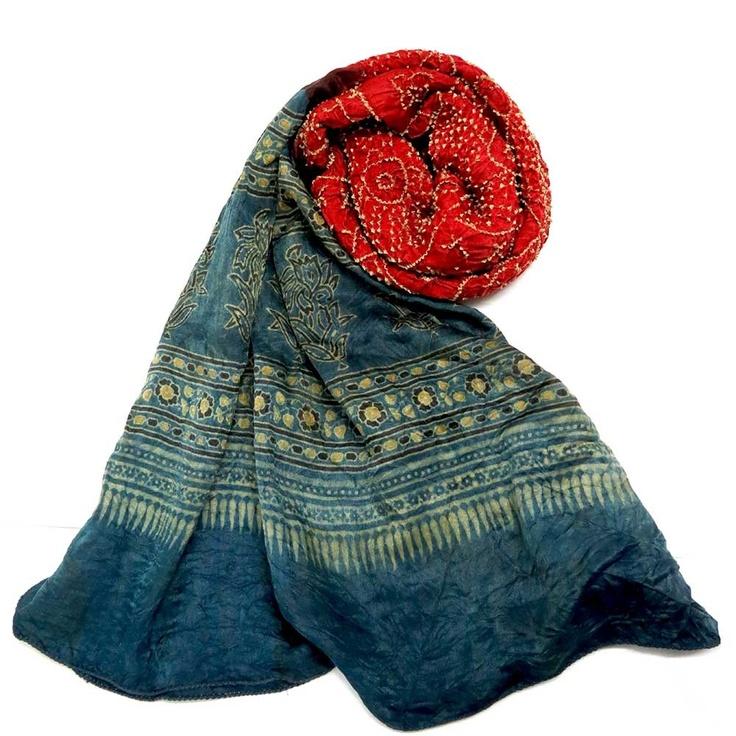 Multi Ajrakh Bandini - Red and Indigo