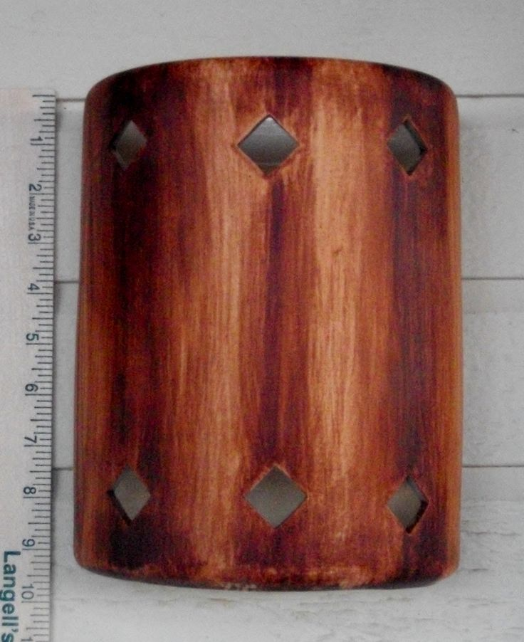 Rustic Hand Painted Ceramic Wall Light faux wood wall sconce interior lighting Decor Custom painted lighting artistic lighting