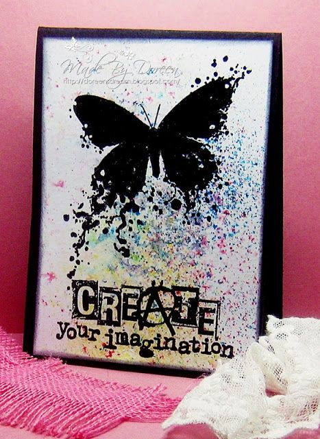 """By Doreen. Background made by sprinkling Brusho dry pigment onto card then spritzing lightly with water. Stamps are """"Butterfly Incognito"""" and """"Create Your Imagination,"""" both from Visible Image."""