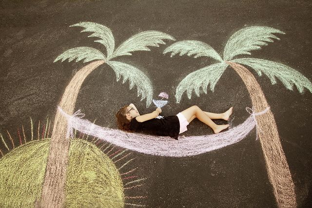 Sidewalk Chalk Fun -- As the Sun Sets on Summer