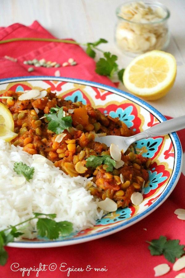 Dal ( dahl ) de pois cassés à la courge rôtie et aux amandes #végétal #sans gluten