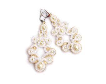 Bridal Earrings Soutache Earrings Bridal Earrings by AdityaDesign