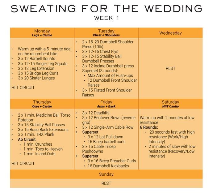 Rotating week 1 workout breakdown. Click for full plan! #sweatingforthewedding