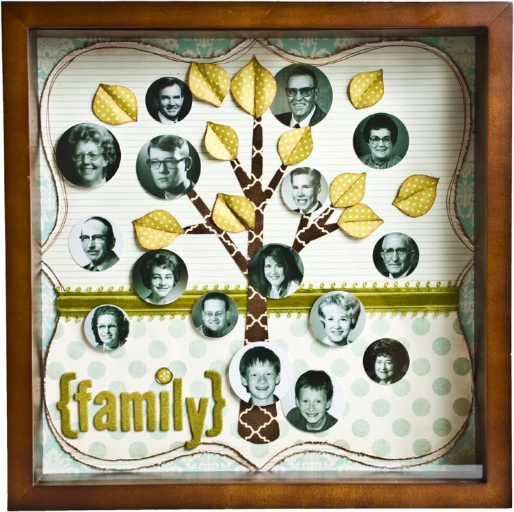 family tree: Scrapbook Ideas, Heritage Ideas, Family Trees, Families Meeting, Families Trees Projects, Families Trees Shadows Boxes, Crafts Frames, Christmas Ideas, Paper Dreams