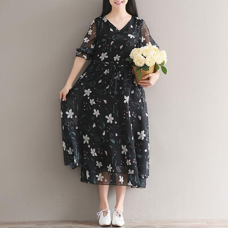 Летнее пляжное платье шифон черный платья Цветочные линии цветок v образным вырезом винтажные Летние Платья повседневные платье с цветочным рисунком Размер M 2XLкупить в магазине Mira's Natural LifeнаAliExpress