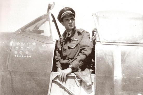 Pierre Clostermann in Spitfire, July 1944.
