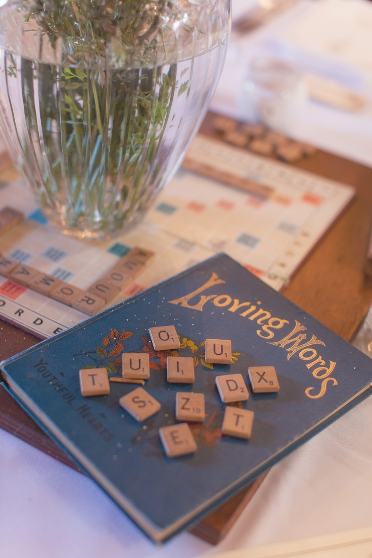 A Vintage & Pretty 1920s scrabble themed reception table centrepiece.