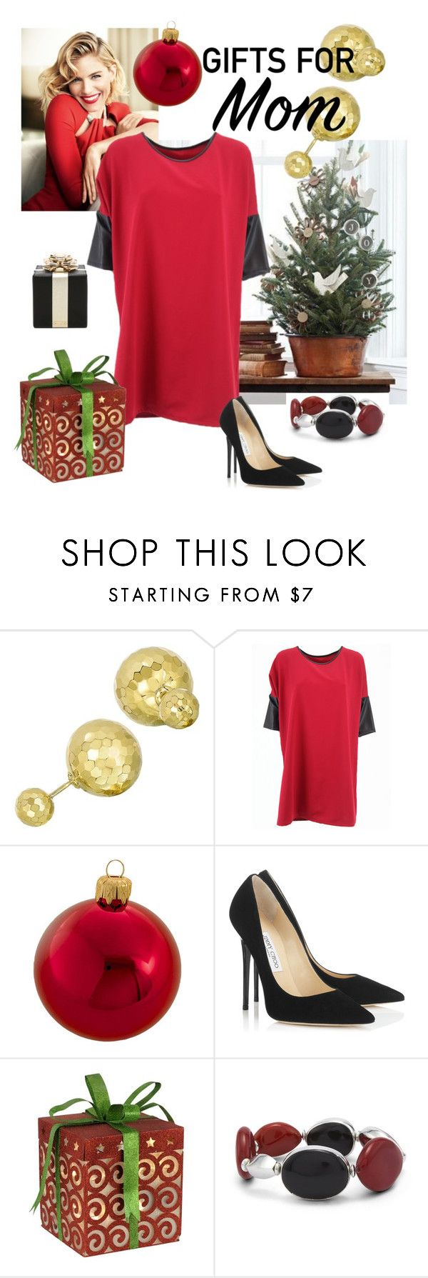 Gifts for  mommy by areachic on Polyvore featuring moda, Jimmy Choo, Kate Spade, Chico's, Kurt Adler, giftguide, Holly, giftideas, xmas and areachic