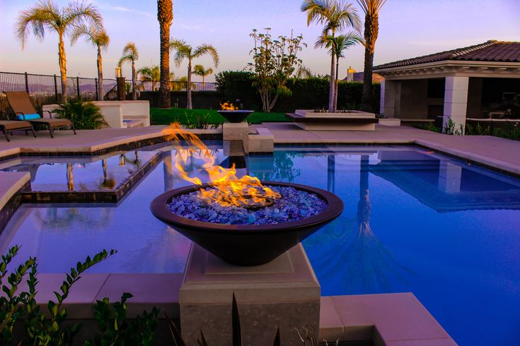 Outdoor fire glass fire bowl pool feature fireplaces for Outdoor fire bowl