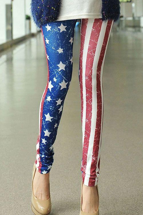 Star Stripe American Flag Print Leggings