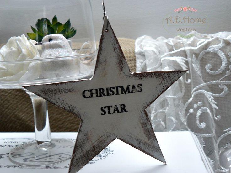 gwiazda drewniana, dekoracja świąteczna hand made, Boże Narodzenie, merry christmas, star, joy