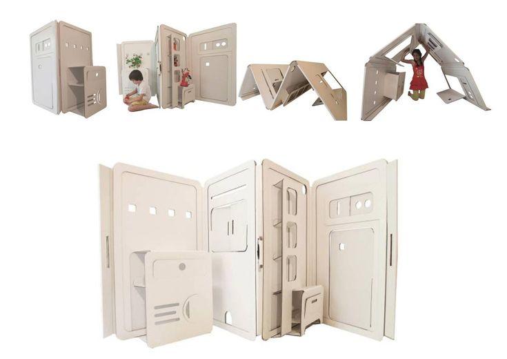 Liya Mairson ha creado esta casa de cartón para montar, colorear, revolcarte con ella y todo lo que se te imagine. Se pliega y no pesa. Se le puede pedir más a un trozo de cartón?