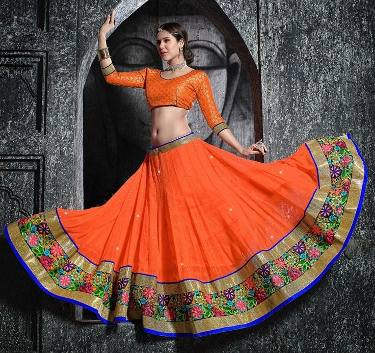 Mruga Contemporary Orange Chaniya Choli  #ChaniyaCholi #Navratri #Orange  #Garba