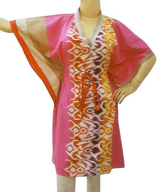 summer dress Kaftan Short  Dress Floral Caftan by colorfuloutlet