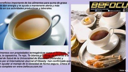 Alimentos quema grasa y que te dan energía: Te verde,  cafeína, capsaicina, Te rojo, Te blanco y Oolong