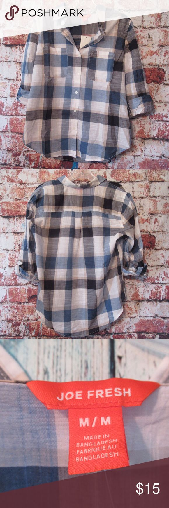"""Joe Fresh Cotton Button Up Blouse T290104 NWT - Joe Fresh blue/white plaid roll sleeve blouse. Button up with two front chest pockets. 100% Cotton.  Approx Measurements:  Chest: 20"""" Length: 26""""  Thanks! Joe Fresh Tops Button Down Shirts"""