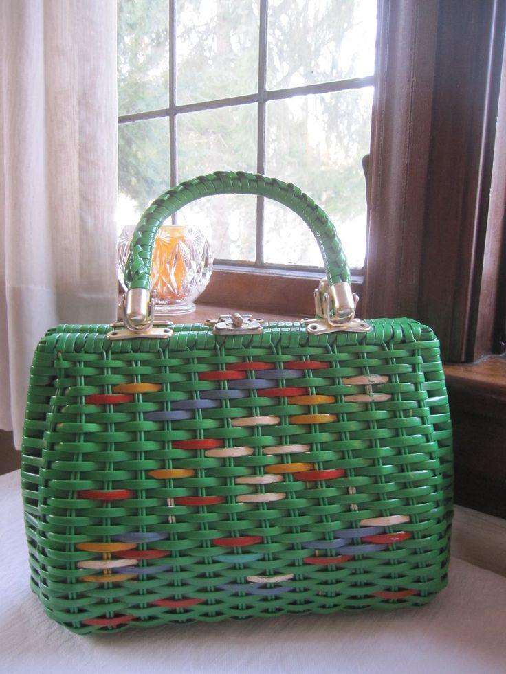 Babette Hand Made Vintage Straw Handbag Purse Green