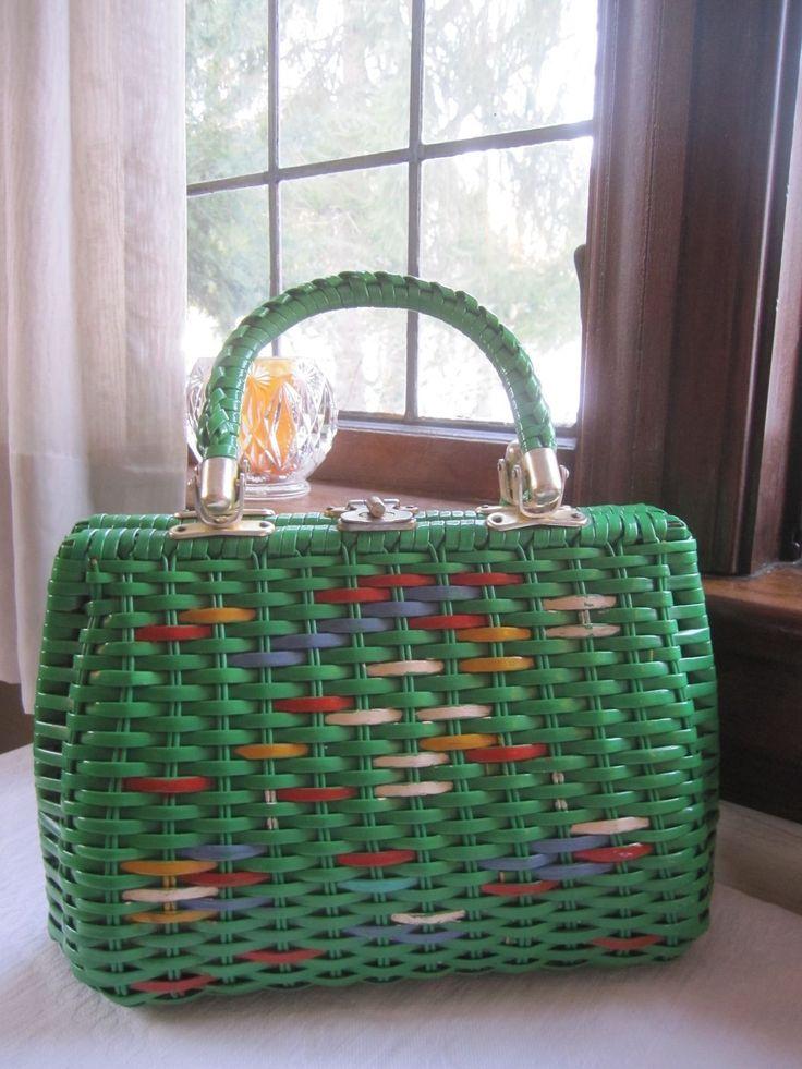 Babette Hand Made Vintage Straw Handbag Purse Green