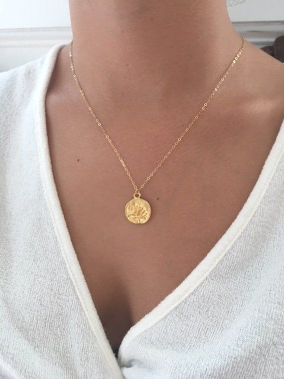 Inspirational Jewelry Gold Coin Necklace Lotus Necklace Lotus