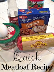 Easy and Quick meatloaf recipe using only a few ingredients and can be whipped up in minutes!!