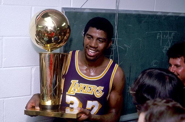 Earving Magic Johnson Los Angeles Lakers NBA Champions