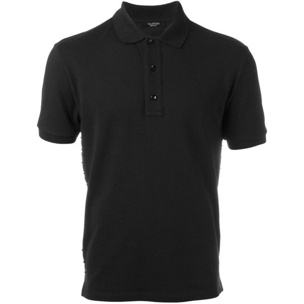 Valentino Rockstud polo shirt (5,280 CNY) ❤ liked on Polyvore featuring men's fashion, men's clothing, men's shirts, men's polos, black, mens short sleeve cotton shirts, mens polo shirts, mens short sleeve shirts, mens short sleeve polo shirts and mens cotton shirts