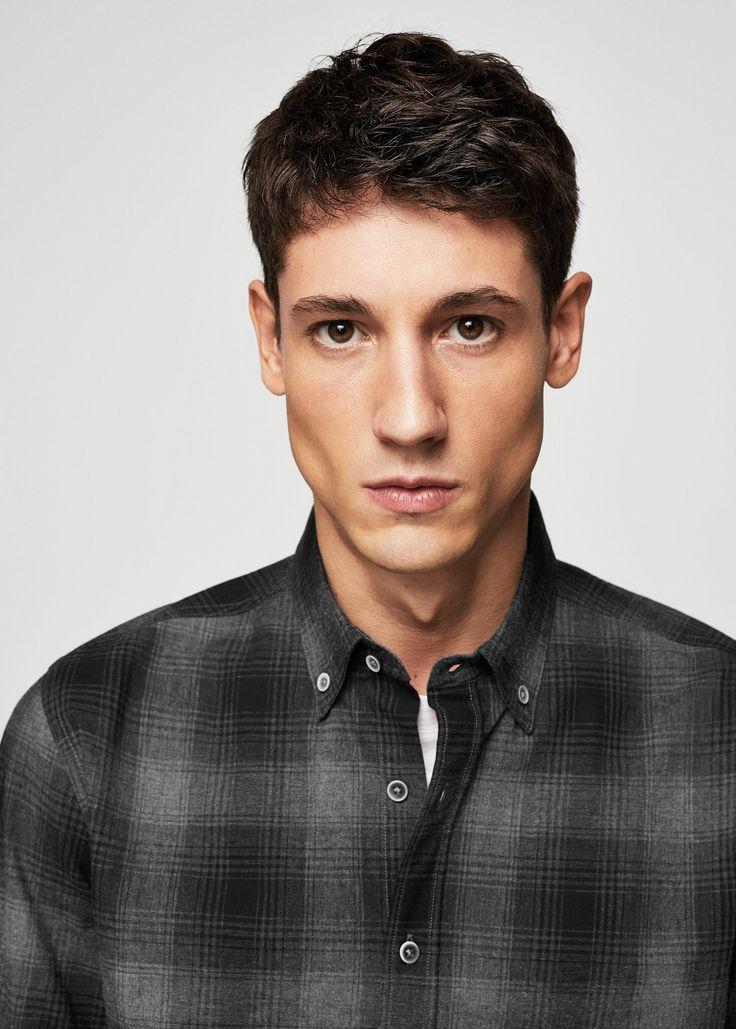 Camisa regular-fit franela cuadros - Camisas de Hombre | MANGO Man España
