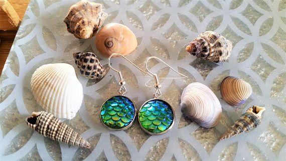 Green mermaid scales charm earrings   mermaid fantasy