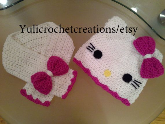 Hello Kitty crochet hat/set by YuliCrochetCreations on Etsy, $25.00