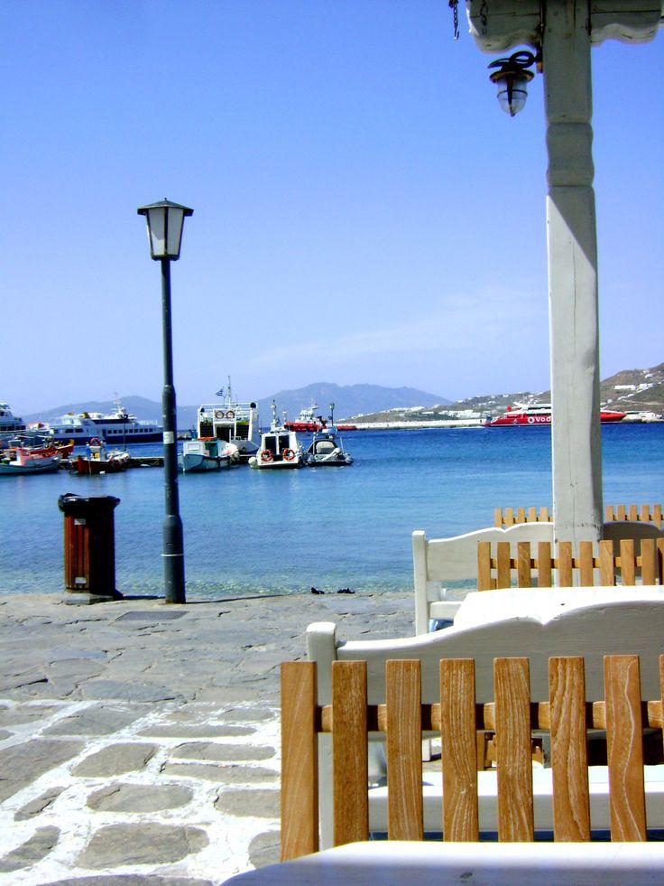 "Enjoying my Sunday, relaxing at ""Gialos"" #Mykonos"