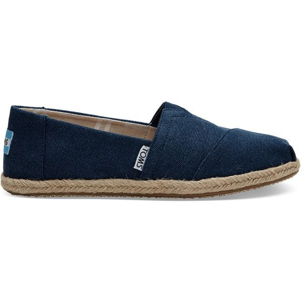 TOMS Navy Washed Canvas Women's Classics Slip-On Shoes ($59) ❤ liked on Polyvore featuring shoes, navy, toms espadrilles, navy blue slip on shoes, wrap shoes, slip on shoes and navy espadrilles