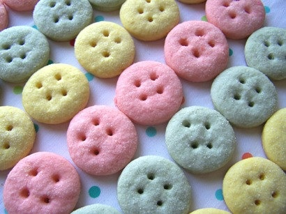 Mini pastel button sugar cookies ~ these would be great for baby shower favors