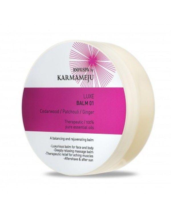 Karmameju LUXE Balm 01, 100 ml En krem som virker oppkvikkende for kropp og ansikt. Økologisk oliven- og jojobaolje og regenererende arganolje gir rikelig med næring til tørr hud. De reparerer hudbarrieren for å øke fuktighet og hydrering i huden. Sedertre og benzoharpiks har kraftfulle betennelsesdempende egenskaper som lindrer såre muskler. Kløver og ingefær stimulerer sirkulasjon mens sanselige ylang ylang og patsjuli løfter og beroliger sinnet og fremmer en god natts søvn.
