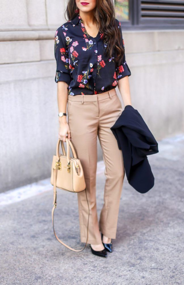 Floral Blouse For Work And Dress Pants Work Wear Work Outfits