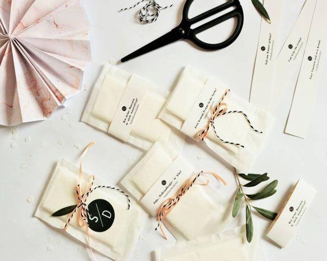 DIY Freudentränen Taschentücher aus Teefilter und Banderolen