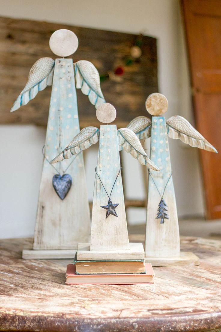 Painted Recycled Wood Angels On Stand, Set of 3