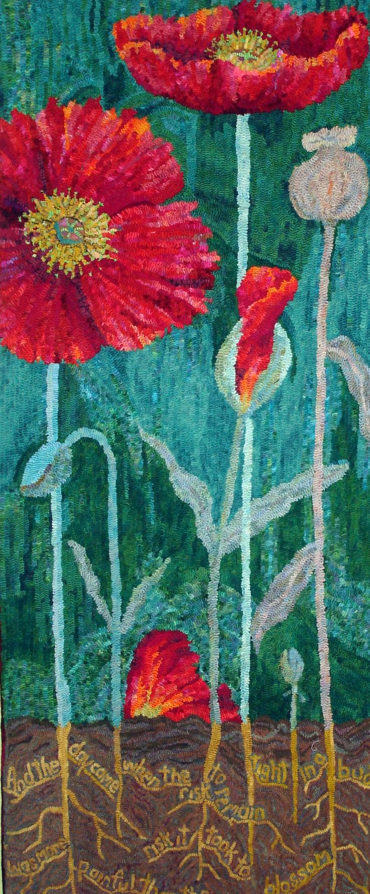 """Hooked rug """"And the Day Came"""" designed and hooked by Wanda Kerr.  Wanda """"the amazing""""...just lovely!"""