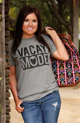 Vacay Mode t-shirt by ATX Mafia.  Available in sizes small - x-large at https://www.dirtroaddivaboutique.com/ProductDetails.asp?ProductCode=VCMTS