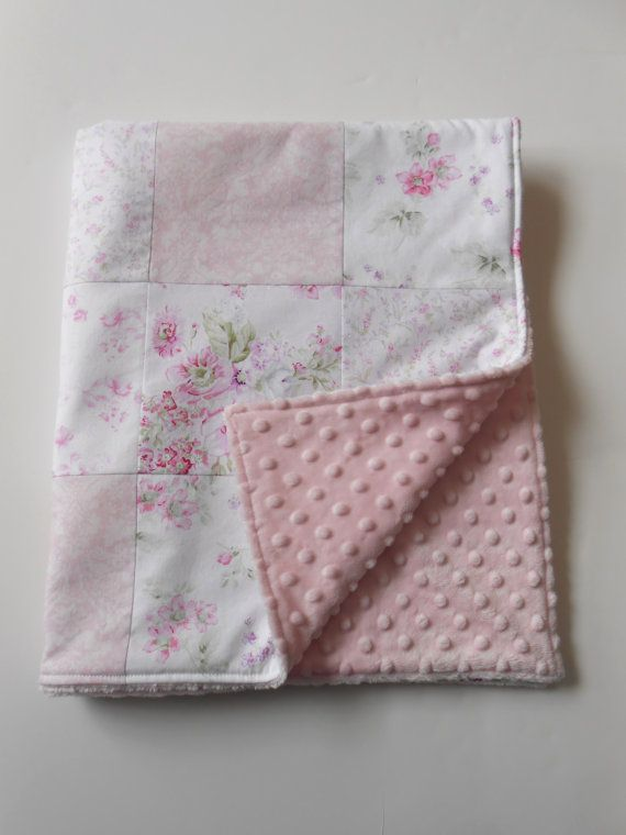 Minky Baby Girl Patchwork Quilt Blanket Shabby Chic Wildflowers Rose Garden Pink Rachel Ashwell--Made to Order. $50.00, via Etsy.