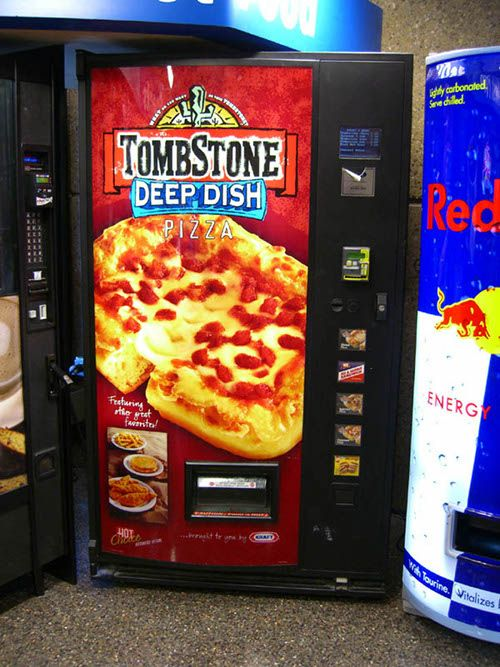 You can find a vending machine for just about everything these days.  Vending machines are a perfect example of mobility and convenience when it comes to products.  The faster the consumer can get things the more satisfied they are. Also, the idea that you can get pizza in a vending machine may intrigue many people, and cause them to buy.