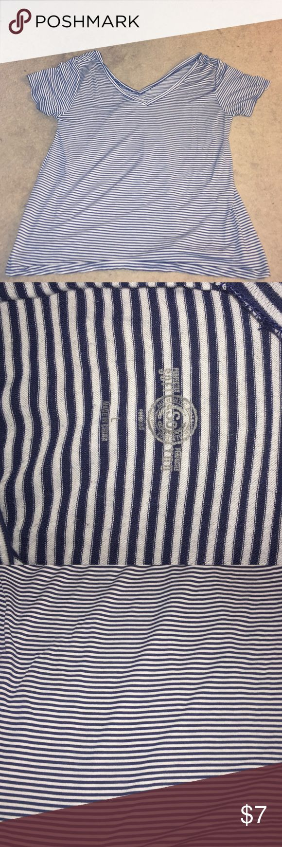 Blue and White Striped Relaxed Tee! Worn once! It kind of falls of the shoulders for a relaxed look. Has vneck in the front and back so it looks great with a messy braid. SO Tops Tees - Short Sleeve